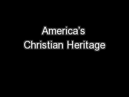 America's Christian Heritage