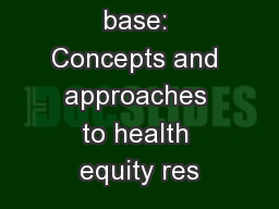 Touching base: Concepts and approaches to health equity res