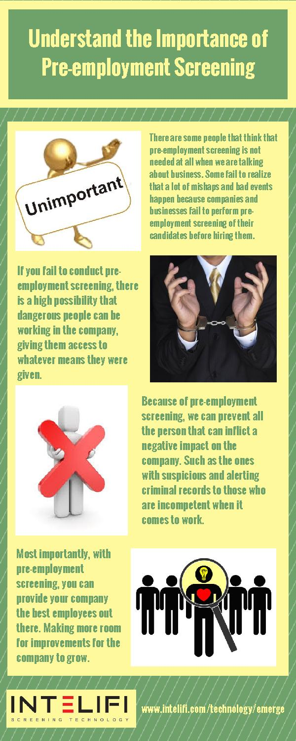 the importance of pre employment background investigation Awig provides employment background checks and pre-employment investigations employment background investigations we recognize the importance of having.