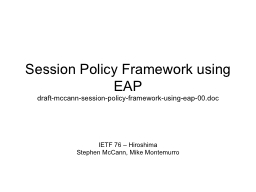 Session Policy Framework using EAP