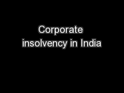 Corporate insolvency in India