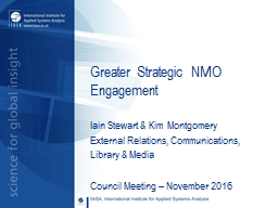 Greater Strategic NMO Engagement