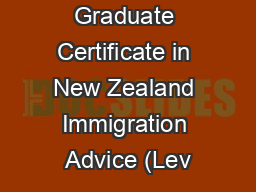 Graduate Certificate in New Zealand Immigration Advice (Lev