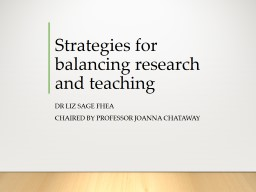Strategies for balancing research and teaching