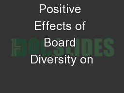 Positive Effects of Board Diversity on