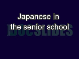 Japanese in the senior school