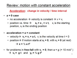 Review: motion with constant acceleration PowerPoint PPT Presentation
