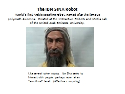 The IBN SINA Robot