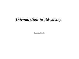 Introduction to Advocacy