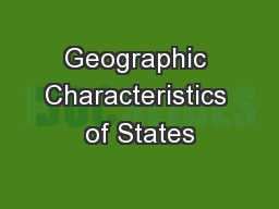 Geographic Characteristics of States