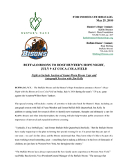 FOR IMMEDIATE RELEASE May   Hunters Hope Contact Kaitl
