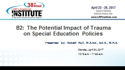 B2: The Potential Impact of Trauma PowerPoint PPT Presentation