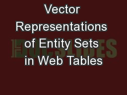 Vector Representations of Entity Sets in Web Tables