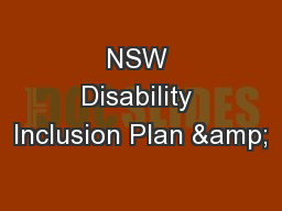 NSW Disability Inclusion Plan &