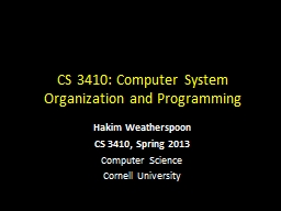 CS 3410: Computer System Organization and Programming PowerPoint PPT Presentation