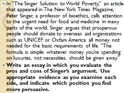 "In ""The Singer Solution to World Poverty,"" an article t"