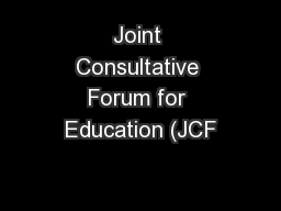 Joint Consultative Forum for Education (JCF