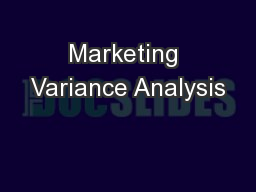 Marketing Variance Analysis