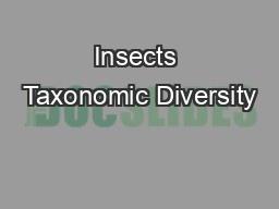 Insects Taxonomic Diversity