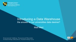 Introducing a Data Warehouse