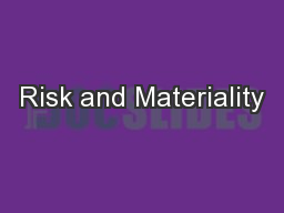 Risk and Materiality