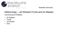 Meteorology � Jet Streams Fronts and Air Masses