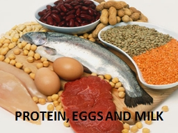 PROTEIN, EGGS AND MILK