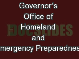 Governor's Office of Homeland and Emergency Preparedness