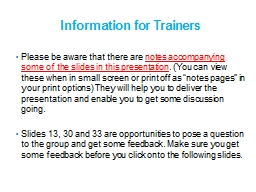 Information for Trainers