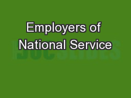 Employers of National Service PowerPoint PPT Presentation
