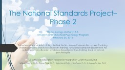 The National Standards Project– Phase 2