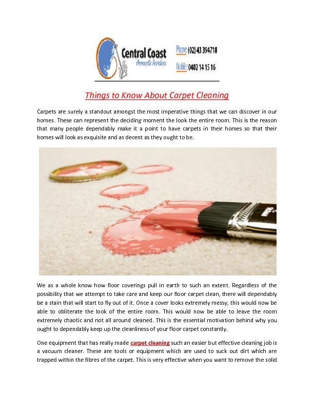Things to Know About Carpet Cleaning