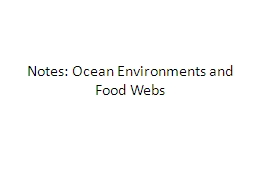 Notes: Ocean Environments and Food Webs