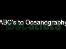 ABC�s to Oceanography