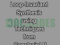 Loop-Invariant Synthesis using Techniques from Constraint P