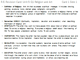 R.E. Revision Card: Unit 5: Q1 Religion and Art 			Card