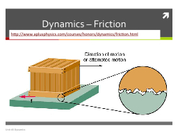Dynamics – Friction PowerPoint PPT Presentation