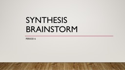 Synthesis Brainstorm