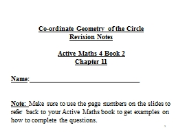 1 Co-ordinate Geometry of the Circle