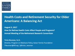 Health Costs and Retirement Security for Older Americans: A