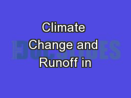 Climate Change and Runoff in
