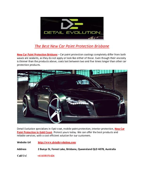 The Best New Car Paint Protection Brisbane