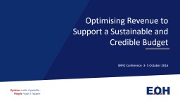 Optimising Revenue to Support a Sustainable and Credible Bu