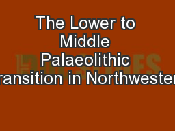 The Lower to Middle Palaeolithic Transition in Northwestern