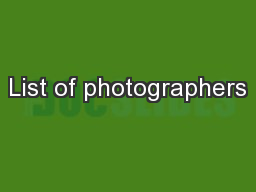List of photographers