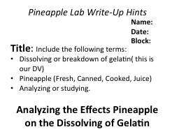 lab report on gelatin and pineapple juice Lap report 2 for later  ap bio lab-jello and pineapples  jelly that contained fresh pineapple and kiwifruit juice to show that the presence of some kind of .
