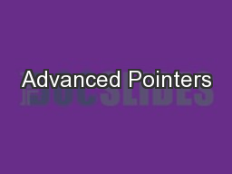 Advanced Pointers
