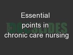 Essential points in chronic care nursing