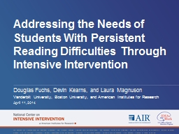 Addressing the Needs of Students With Persistent Reading Di