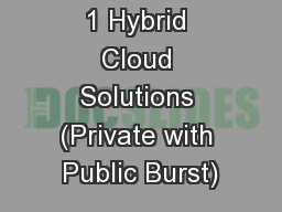1 Hybrid Cloud Solutions (Private with Public Burst) PowerPoint PPT Presentation